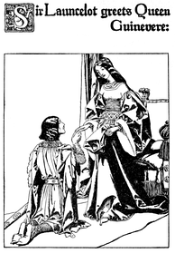 Lancelot and Guinevere in Howard Pyle's illustration for The Story of the Champions of the Round Table (1905)