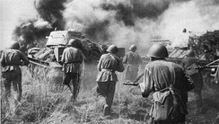Red Army troops in a counter-offensive on German positions at the Battle of Kursk, July 1943