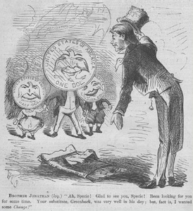 A cartoon from the April 9, 1870 issue of Harper's Weekly anticipates the resumption of government payments in precious-metal coins.