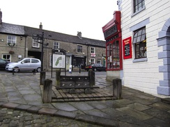 The town stocks on Chapel's Market Place