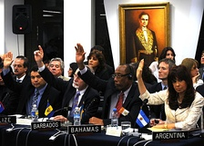Those attending the Extraordinary Assembly of the OAS voted to suspend Honduras.