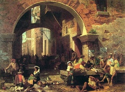 Roman fish market under the Arch of Octavius by Albert Bierstadt