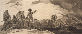 Samuel Waller Prentice, 84th Regiment, 4 January 1780, shipwrecked off Cape Breton, Nova Scotia by Robert Pollard (1784)[11][12][13]