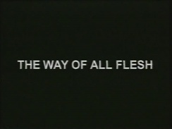 "Example of Curtis's ""trademark"" title screens (Modern Times: The Way of All Flesh, 1997)"