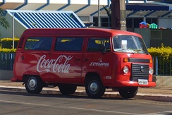 Coca-Cola advertised on a Volkswagen T2 in Maringá, Paraná, Brazil, 2012.