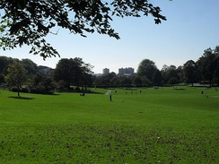 Southward view across Hove Park, a popular site for sports and recreational activities