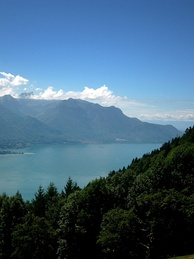 View of the lake and the Chablais Alps from Caux