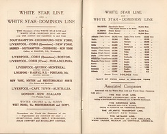 White Star Line routes and steamer fleet, 1923