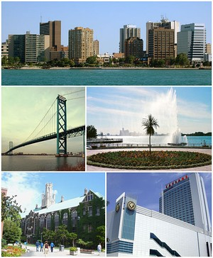 Images from top to bottom, left to right: Downtown Windsor skyline, Ambassador Bridge, Charlie Brooks Memorial Peace Fountain, Dillon Hall at University of Windsor, and Caesars Windsor