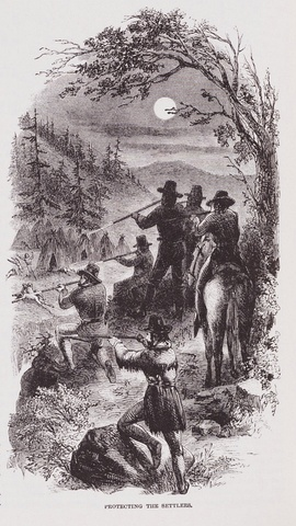 """Protecting The Settlers"" Illustration by JR Browne for his work ""The Indians Of California"" 1864.jpg"