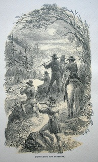 Protecting the Settlers, an illustration by JR Browne for his work The Indians of California (1864)