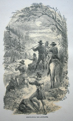 """Protecting the Settlers"", an illustration by contemporary witness JR Browne, for his work The Indians Of California (1864)"