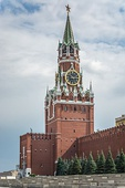 The Spasskaya Tower, one of the towers of the Moscow Kremlin which overlooks the Red Square, built in 1491