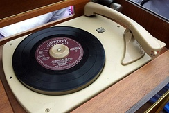 45 rpm EP on a turntable, ready to be played