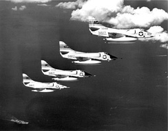 Douglas A-4 Skyhawks from the USS Essex flying sorties over combat areas during the invasion