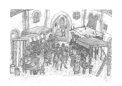 Market street or Assoc (from the Arabic As-Suq) of the Morería (medieval Muslim quarter) of the Catalan city of Lleida/Lérida between late 13th century and early 14th century.