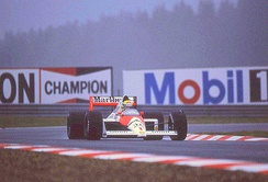 Ayrton Senna gained pole position ahead of his teammate.