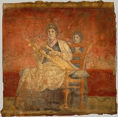 Woman playing a kithara, from the Villa Boscoreale, 40–30 BC