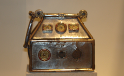 The Monymusk Reliquary, c. 750, thought to be the Brecbennoch, purportedly enclosing the bones of Columba, and which was carried into the Battle of Bannockburn in 1314.[139]