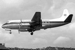 A British United Airways Vickers Viscount 700 seen landing at Berlin Tempelhof during 1962.