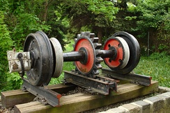 Rack railway axle