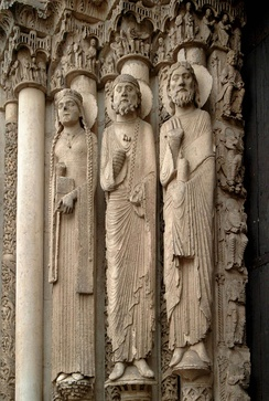 The Western (Royal) Portal at Chartres Cathedral (ca. 1145). These architectural statues are the earliest Gothic sculptures and were a revolution in style and the model for a generation of sculptors.