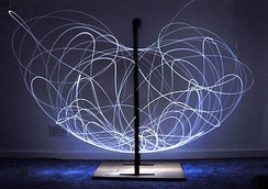 Long exposure of double pendulum exhibiting chaotic motion (tracked with an LED)
