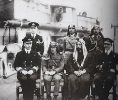King Faisal of Syria and T.E. Lawrence in Damascus during World War I, 1918.