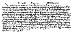 English chancery hand. Facsimile of letter from Henry, 1418