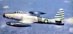 "Republic F-84E-10-RE Thunderjet Serial 49-2299 of the 23d Fighter-Bomber Squadron, 1951, flown by the Wing Commander Col. Robert L. Scott. Note the 23d Fighter Group emblem on the nose, as Col. Scott was a ""Flying Tiger"" in China during World War II."