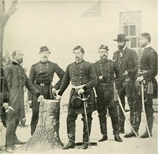 General George B. McClellan with staff and dignitaries (from left to right): Gen. George W. Morell, Lt. Col. A.V. Colburn, Gen. McClellan, Lt. Col. N.B. Sweitzer, Prince de Joinville (son of King Louis Philippe of France), and on the very right – the prince's nephew, Count de Paris