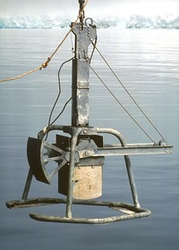 Box corer for extracting soil samples from the seabed.