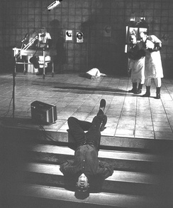 "Mikael Salazar as ""The Hanged Man"" in Hamletmachine, directed by Fowler, 1992"