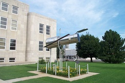 A 1/4 scale model of the Hubble Space Telescope located at the courthouse in Marshfield.