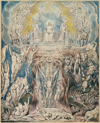 "William Blake's The Day of Judgment printed in 1808 to illustrate the Robert Blair's poem ""The Grave"""