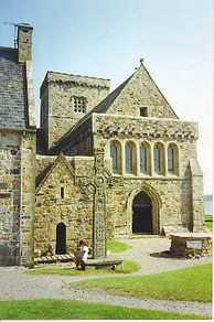 Iona Abbey in Scotland was founded by Saint Columba.