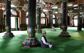 The male section of a mosque in Srinagar, Jammu and Kashmir, India