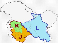 Jammu and Kashmir union territory (J and K) is bordered in carmine colour. Ladakh union territory (L) is bordered in blue colour.