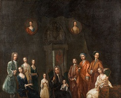 Portrait of Sir Francis Grant, Lord Cullen, and his family, by John Smybert (1688–1751)