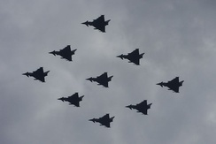 Eurofighter Typhoons in diamond formation