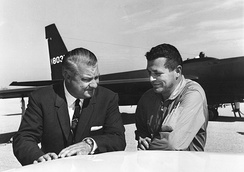 Kelly Johnson and Gary Powers in front of a U-2
