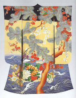 Kimono for a young woman, depicting a boat on swirling water, with pine tree, plum blossoms and maples. Japan, 1912-1926. From the Khalili Collection of Kimono