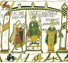 "HIC RESIDET HAROLD REX ANGLORUM. STIGANT ARCHIEP(I)S(COPUS). ""Here sits Harold King of the English. Archbishop Stigand"". Scene immediately after the crowning of Harold by (according to the Norman tradition) Stigand. Detail from the Bayeux Tapestry."