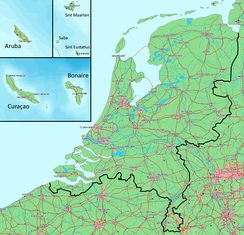 Map of the Kingdom of the Netherlands. The Netherlands and the Caribbean islands are to the same scale.