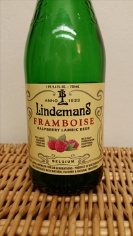 A bottle of Belgian raspberry lambic as sold in the United States.