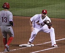Matt Adams takes a throw in 2016