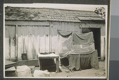 "Makeshift shelter for Indian farm laborers (referred to as a ""Hindu bed"") in California."