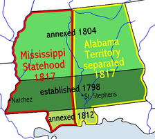 Map showing the formation of the Mississippi and Alabama territories