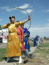 A women's archery competition held during the 2005 Naadam festival