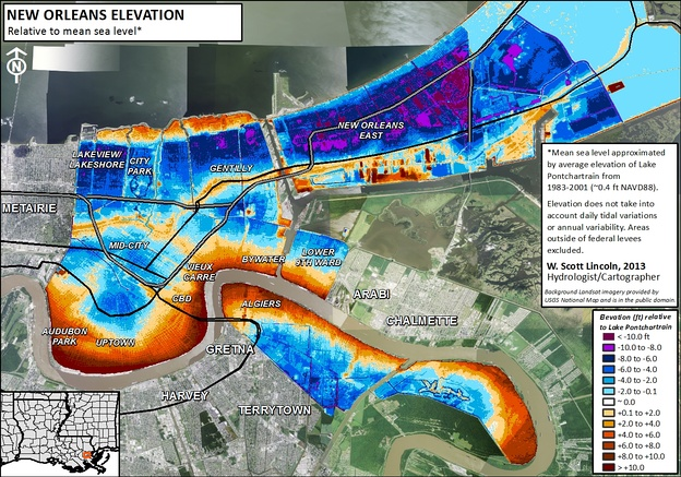 Elevation map of New Orleans. Blue/purple indicates elevations below the average level of Lake Pontchartrain (1983-2001) and orange/brown indicates elevations above.